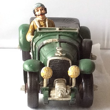Antique large wooden toy car with plastic wheels. - Model Cars