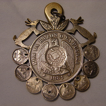 Handmade Art Piece Silver Coin Pendant Chile 1 Peso Surrounded by Smaller Coins  - Costume Jewelry