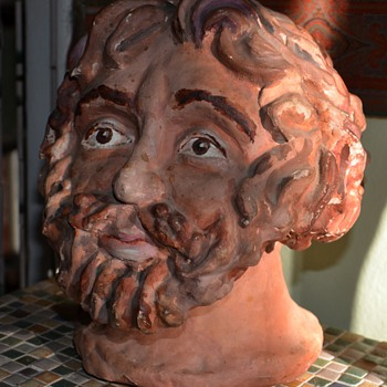 Large Pottery Bust of a Bearded Man - Art Pottery