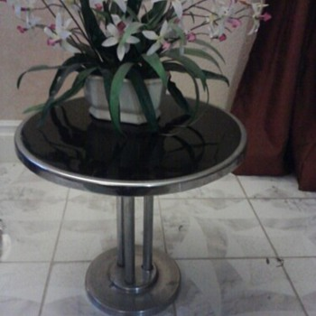 Art Deco Black and Chrome End Table