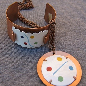 60's-70's unmarked enamel & copper - Costume Jewelry