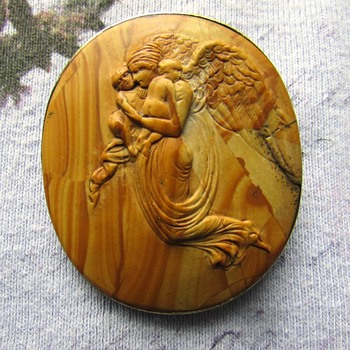 Antique Wood Angel Pin - Fine Jewelry