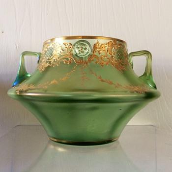 Loetz Olympia Max Emanuel Enamelled Handled Prunt Vase PN 346, Circa 1898