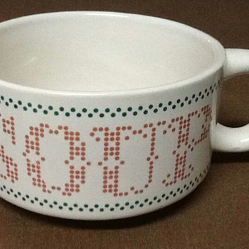 Cross Stitch Print Soup Bowls - Kitchen