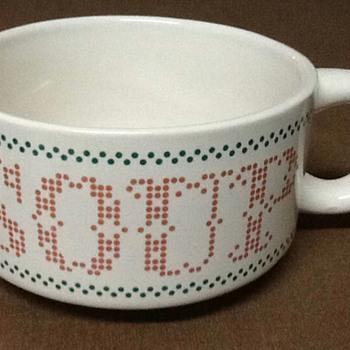 Cross Stitch Print Soup Bowls