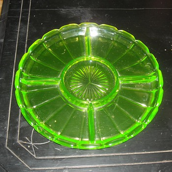 Indiana Glass Vaseline Glass Relish Dish Pattern 232 1930s - Glassware
