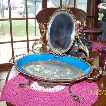 brass ornate mirror with painted tray  from worlds fair - Furniture