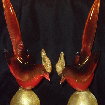 Archimedes Seguso Aventurine Pheasants ~ Pair