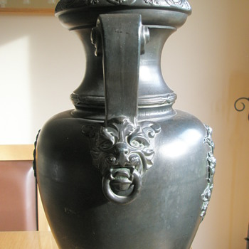 Tall black neoclassical vase