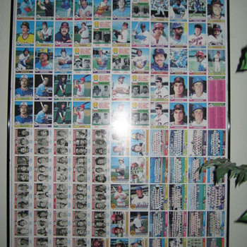 Uncut baseball cards 1978-1980