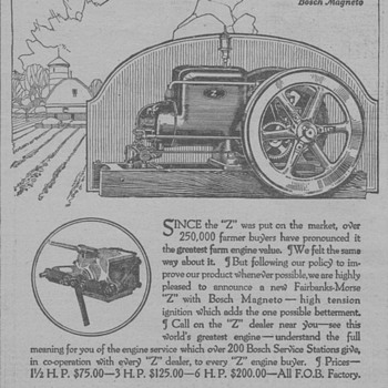 1919 Fairbanks-Morse Farm Engine Advertisement - Advertising