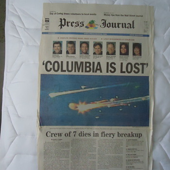 columbia is lost feb,2-2003-paper - Paper