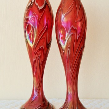 "Harrach Pair of 12"" Pinched Iridescent Vases - Art Glass"