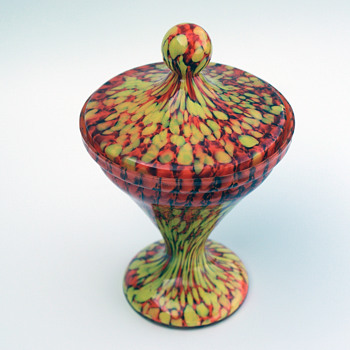 WELZ spots and stripes Lidded Candy Dish - Art Glass