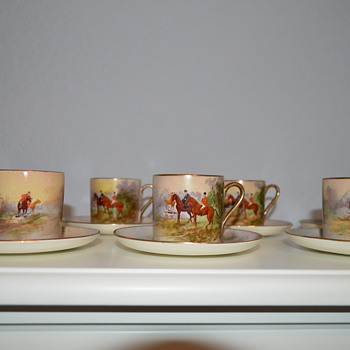 Hand painted Crown Devon John Peel coffee set from 1930s