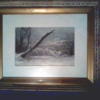 """Winter Landscape"" Oil on Art Paper Mounted to Board/8""x 12"" Signed H.G.Downs/Circa 1920  - Visual Art"