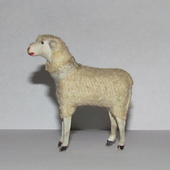 Antique German Nativity Sheep - Stick Leg