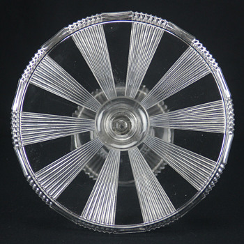 U'S. Glass #15003 'Pleating' cake stand c1891