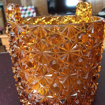 Yard sale amber glass vase
