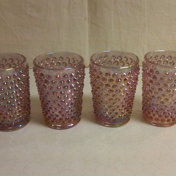 Set of 4 Fenton Dusty Rose Iridescent Hobnail Water Tumblers  - Glassware