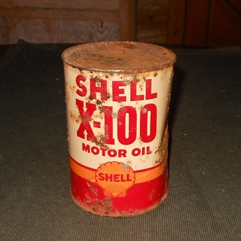Shell X-100 Oil Can Vintange and Rusty - Petroliana