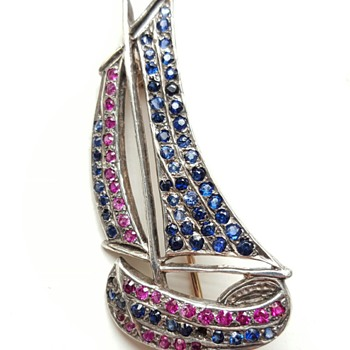 Vintage sailboat rubies and sapphires gold brooch.