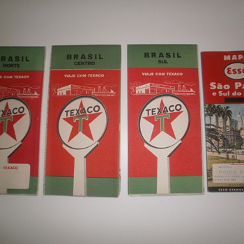 Vintage Brasil maps 3 by Texaco and 1 by Esso - Petroliana