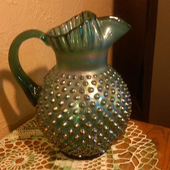 Stunning Large Fenton Spurce Green Carnival Hobnail Pitcher - Glassware