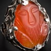 Chinese style antique Arts and Crafts carnelian silver ring.