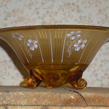 Bohemian Art Deco enamel glass bowl.