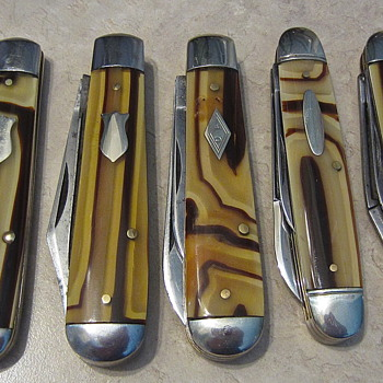 Pre WW2 Shapliegh Hardware and Schrade Cut Co. celluloid butter and molasses knives - Tools and Hardware