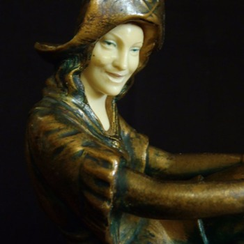 J B Hirsch, Uniquely Rare Lady Pirate Lamp Base, 1915-25