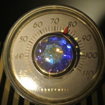 Honeywell Desk Thermometer - 1950's Modern - Prism Sphere Paperweight - Advertising