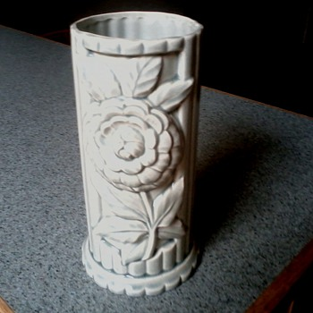 Pastel Green Column Vase with Raised Flower Design /Amazing ! - Art Pottery
