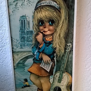 1960s Michel Thomas Big Eye Kids Paris Seine (Not Margaret Keane)  - Mid-Century Modern