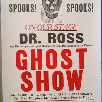 Original 1930 Dr. Ross Ghost Show Letterpress Poster