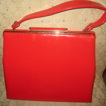 Vtg Bobbie Jerome 1950s Red Patent Handbag-Beautiful ! - Bags