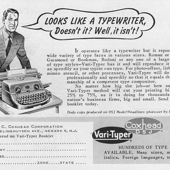 "1952 - Coxhead ""Vari-Typer"" Typewriter Advertisement - Advertising"