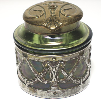 "STOLZLE Austrian, Art Nouveau- Glass INKWELL Green Iridescent w/Metal Mount""Circa 1900 - Art Glass"