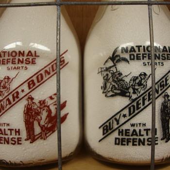 """Buy War Bonds"" & ""Buy Defense Bonds"" Milk Bottle Slogans......"