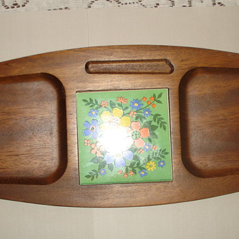 MADE IN JAPAN CERAMIC FLORAL TILE/ WOOD TRAY?