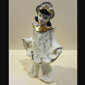 Vintage Asian Female Porcelain Figurine - Art Pottery