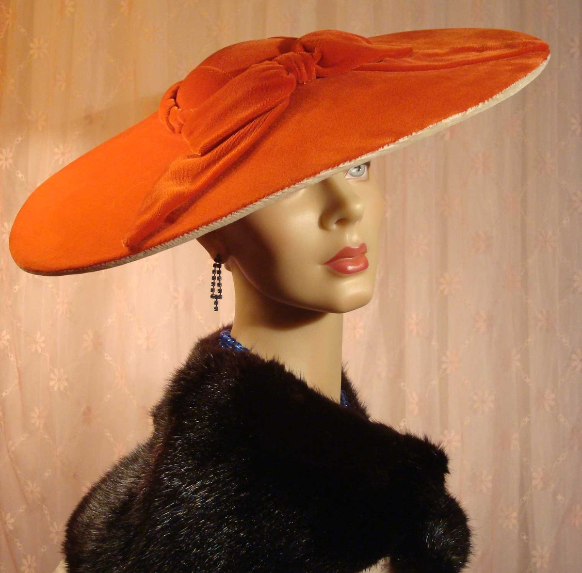 Glamorous Hats: Hollywood Glam Orange Velvet Pancake Hat Ca 1940s