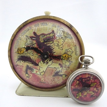 FAKE Ingersoll Who's Afraid Of The Big Bad Wolf Alarm & Pocket Watch