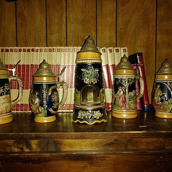 West Germany Beer steins set/music box in biggest one. - Breweriana