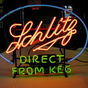 "ca. 1940 schlitz ""direct from keg"" neon sign - Breweriana"