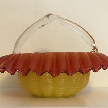 Welz yellow and rose basket  - Art Glass