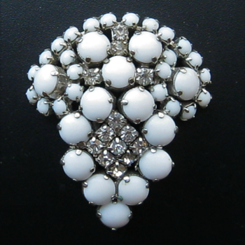 Milk Glass Brooch Mystery - Costume Jewelry