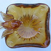 Vintage Murano: square bowl, bullicante, ribbed underside, attached bird