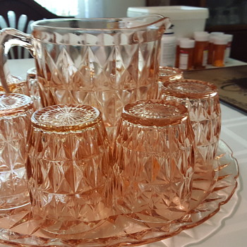 Antique cut or impression glass serving set with six glasses